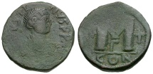 Ancient Coins - Byzantine Empire.  Justin I Æ Follis