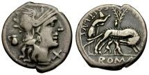 Ancient Coins - 137 BC  - Roman Republic. Sextus Pompeius Fostlus AR Denarius / Shepherd with Wolf and Twins