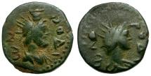 Ancient Coins - Islands off Caria.  Rhodos Æ17 / Helios & Serapis