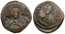 Ancient Coins - Byzantine Empire.  Anonymous Class G. Attributed to Romanus IV Æ Follis  / Lillah Counterstamp