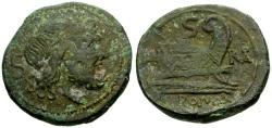 Ancient Coins - 211-210 BC - Roman Republic, Southeast Italy Æ Semis