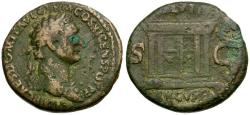 Ancient Coins - Domitian Æ AS / Altar