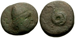Ancient Coins - Thessaly, Homolion Æ Dichalkon / Snake