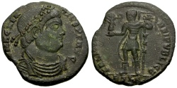 Ancient Coins - Magnentius Æ Centenionalis / Emperor holding Victory and Labarum