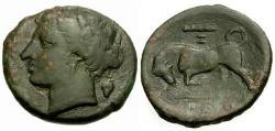 Ancient Coins - aVF/aVF Sicily, Syracuse, Agathokles Æ20 / Bull
