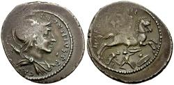 Ancient Coins - 55 BC -  Roman Republic P. Fonteius P.f. Capito AR Denarius / Horseman riding down Gaulish warriors