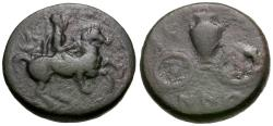 Ancient Coins - Thessaly. Krannon Æ16 / Hydria on Cart