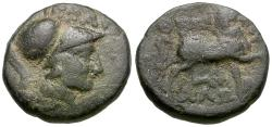 Ancient Coins - Thessaly. Thessalian League. Ippaitas, magistrate Æ15 / Horse