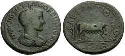 Ancient Coins - Gordian III, Pisidia Antioch Æ34 / Wolf and Twins