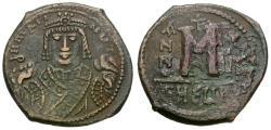 Ancient Coins - *Sear 533* Byzantine Empire. Maurice Tiberius (AD 582-602) Æ Follis