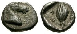 Ancient Coins - VF/VF Thessaly, Thessalian League AR Hemiobol / Horse and Grain