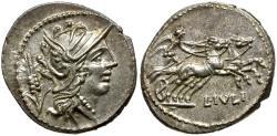 Ancient Coins - 101 BC - Roman Republic L. Julius AR Denarius / Victory in Biga