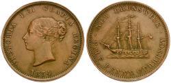 World Coins - Canada. New Brunswick. Victoria Æ Halfpenny
