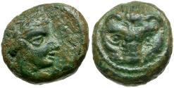Ancient Coins - Bruttium. Rhegion Æ12 / Lion Scalp