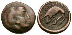 Ancient Coins - Macedon. Pydna Æ18 / Herakles / Eagle