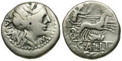 Ancient Coins - 92 BC - Roman Republic. C. Allius Bala AR Denarius / Grasshopper