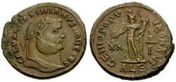 Ancient Coins - aEF/aEF Galerius as Caesar Æ Follis / Genius