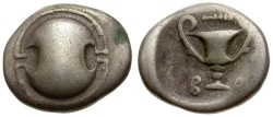 Ancient Coins - Boeotia.  Federal Coinage AR Hemidrachm / Shield and Kantharos