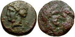 Ancient Coins - Thessaly. Gyrton Æ17 / Youth with Horse