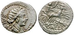 Ancient Coins - 92 BC - Roman Republic. C. Allius Bala AR Denarius / Grasshopper