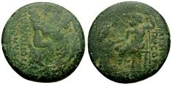 Ancient Coins - Cilicia, Tarsos Pseudo-autonomous, Time of Hadrian Æ26 / Tyche and River god / Zeus