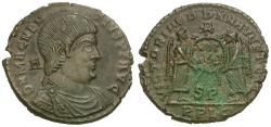 Ancient Coins - Magnentius (AD 350-353) Æ Centenionalis / Two Victories with Shield