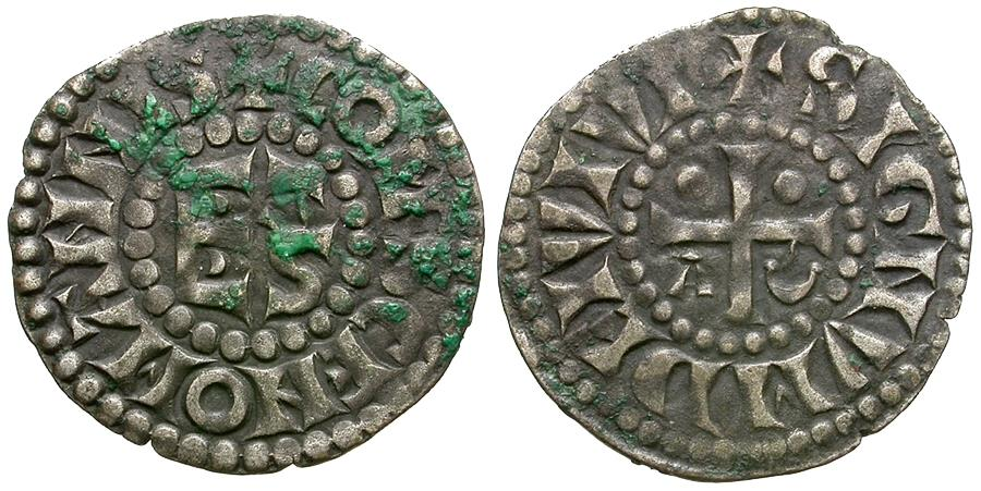 World Coins - France. Carolingian. Herbert I (AD 1015-1036) AR Denar