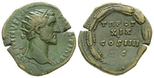 Ancient Coins - aVF/VF Antoninus Pius Dupondius / Wreath