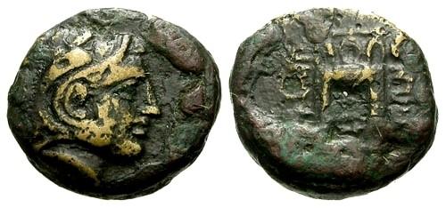 Ancient Coins - VF/F Macedon Philippi AE11 / Herakles / Tripod