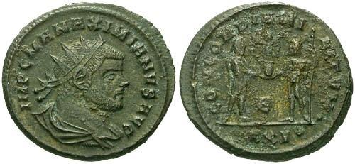 Ancient Coins - VF/F Maximianus Antoninianus / Max and Jupiter