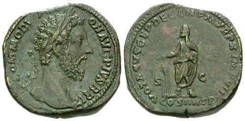 Ancient Coins - VF/VF Commodus Sestertius / Commodus sacrificing