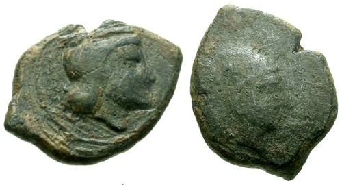 Ancient Coins - gF/aF Sicily Thermai AE17 / Hera / Herakles