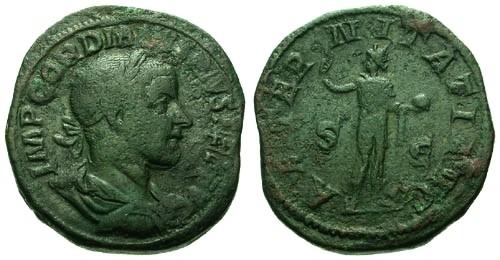 Ancient Coins - aVF/aVF Gordian III AE 25+gram Sestertius / Sol