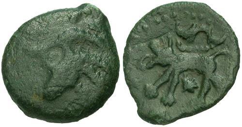 Ancient Coins - F+/VF Carnutes AE / Wolf RR