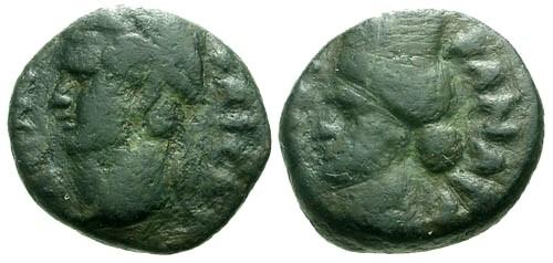 Ancient Coins - VF/VF Domitian Decapolis Kanatha AE12 / City-Goddess