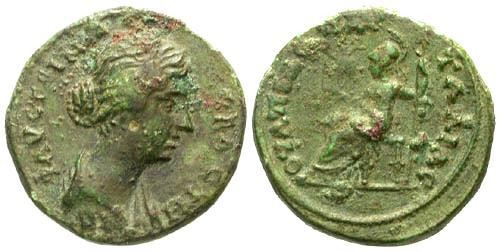 Ancient Coins - VF/VF Faustina II AE22 Pautalia Thrace / Roma seated