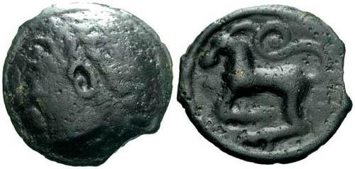Ancient Coins - EF/VF Sequani Tribe Potin / Horse