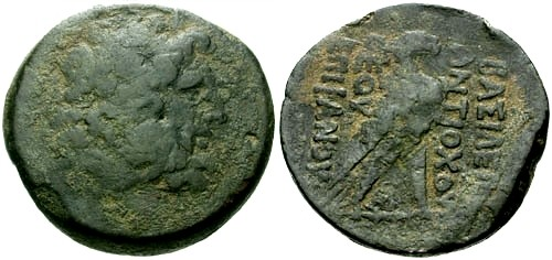 Ancient Coins - F/aVF Kings of Syria Antiochus IV Epiphanes AE35 Drachm / Eagle