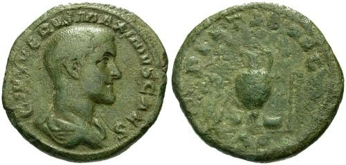 Ancient Coins - VF/GF Maximus Caesar AS / Sacrificial Implements