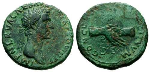 Ancient Coins - VF/VF Nerva AS / Clasped Hands / Green Patina