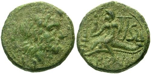 Ancient Coins - gF/gVF Calabria Brundisium AE Semis / Naked Youth on Dolphin