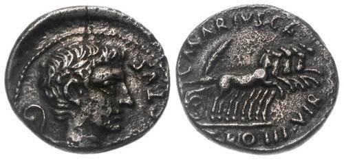 Ancient Coins - aVF/aVF Augustus AR Denarius / Quadriga RARE