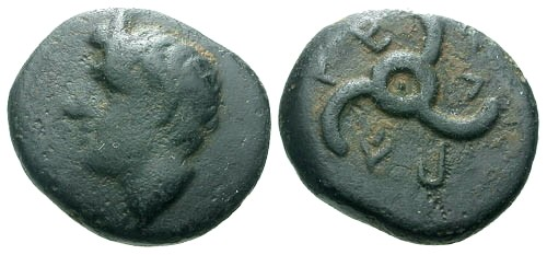 Ancient Coins - VF/VF Lycian Dynasts Perikle AE12 / Pan / Triskeles