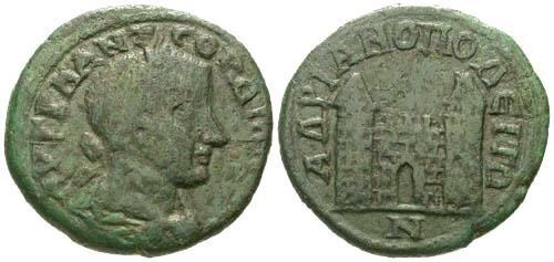Ancient Coins - F+/aVF Gordian III AE26 Hadrianopolis / City Gate