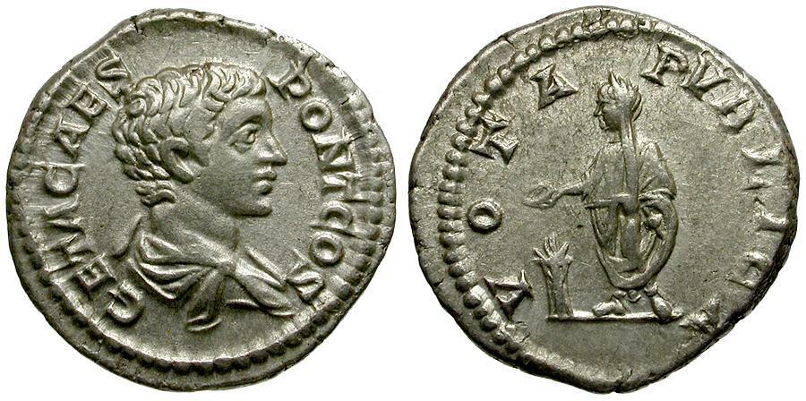 Ancient Coins - Geta AR Denarius / Geta Sacrificing