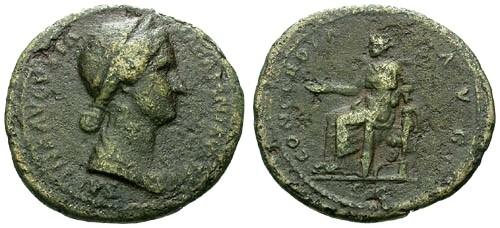 Ancient Coins - gF+/gF Sabina AE As / Concordia
