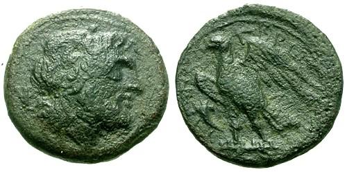 Ancient Coins - aVF/aVF Bruttium Brettian League AE22 / Zeus / Eagle