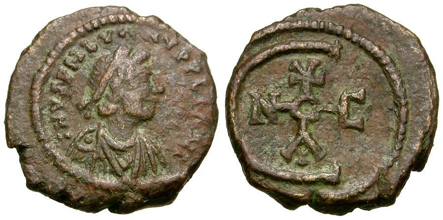 Ancient Coins - *Sear 245* Byzantine Empire. Justinian I (AD 527-565) Æ Pentanummium