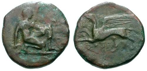 Ancient Coins - VF/aVF Thrace Chersonesos AE21 / Artemis / Griffin