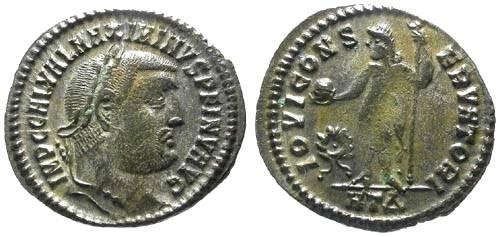 Ancient Coins - VF/VF Maximinus II AE Follis / INV and Unlisted Mintmark